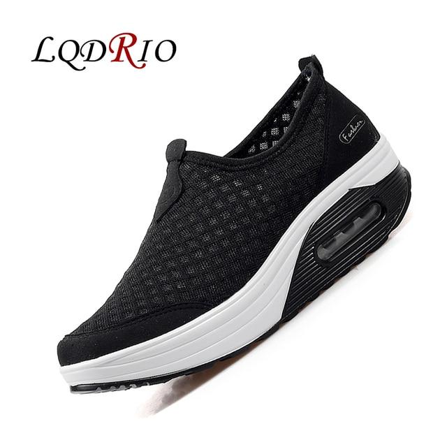 e6789ed69 Mulheres Sapatos Cesta Femme 2017 Mulheres Malha Ar Tenis Casuais Feminino  Branco Preto Deslizar sobre Emagrecimento
