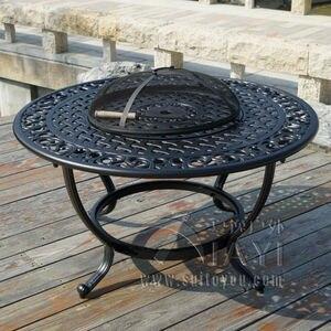Image 2 - מנגל גן/פטיו שולחן 4 כיסא סט, יצוק אלומיניום סיים בשחור