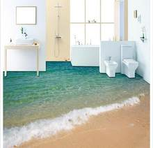 Custom photo Waterproof flooring wallpaper 3 d sea surf beaches 3d mural PVC wallpaper self-adhesion floor wall paper home decor(China)