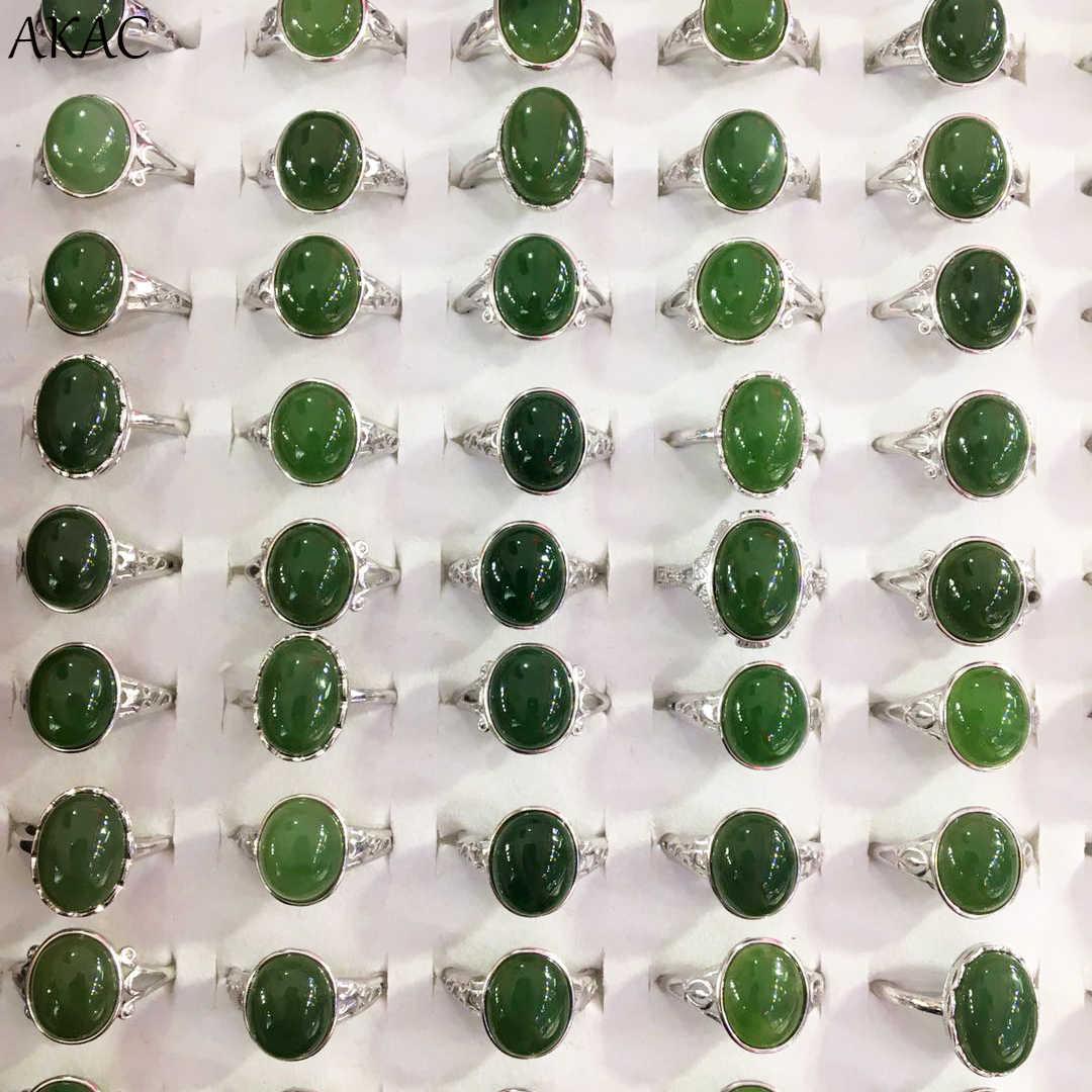 AKAC ธรรมชาติ 925 เงินสเตอร์ลิงแหวนผู้หญิง hetian หยกผู้หญิงแหวนปรับรูปไข่แหวน approx10 * 12 มม.ขายส่ง
