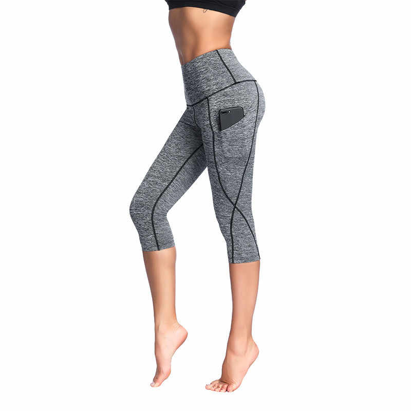 8b5f555869c9f5 2018 New Women Yoga Pants Capri with Pockets High Waist Elastic Yoga  Leggings for Fitness Sport