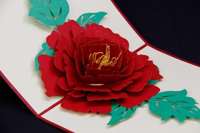 3d en trois dimensions cartes de voeux d 39 anniversaire cartes de luoyang pivoine fleur bricolage - Idee anniversaire surprise ...