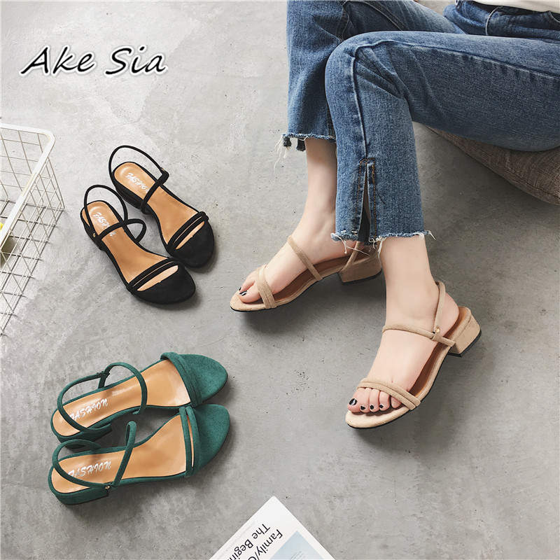 HTB1Aus9OrvpK1RjSZFqq6AXUVXaw new Flat outdoor slippers Sandals foot ring straps Roman sandals low slope with women's shoes low heel shoes Sandals mujer