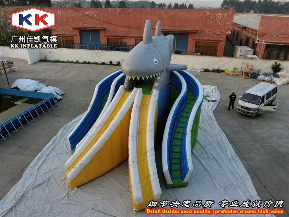 ФОТО giant shark inflatable water slide with double slip rail for commercial pool play games