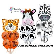 11Pcs Animal Tiger Zebra Cow Head Balloon Baby Kids Toys Birthday Air Wedding Decoration Globos Shower Boys Girl
