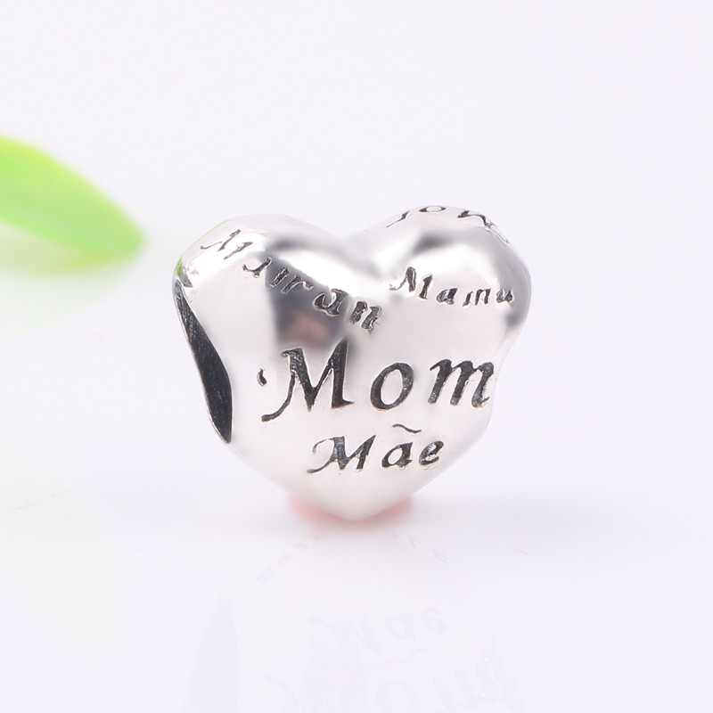 Ranqin Real 925 Sterling Silver Pink CZ Openwork Mom Charm Beads fit Pandora Charm Bracelet DIY Fine Jewelry