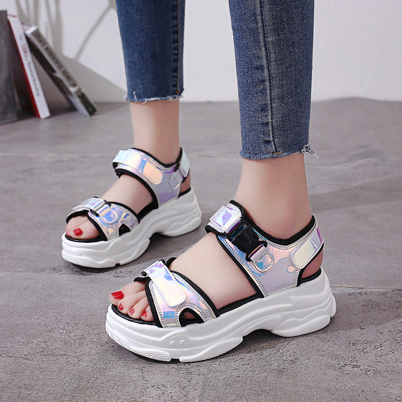 HTB1AusmM7zoK1RjSZFlq6yi4VXaO Sexy Open toed Women Sport Sandals Wedge Hollow Out Women Sandals Outdoor Cool Platform Shoes Women Beach Summer Shoes 2019 New