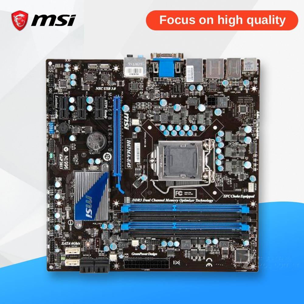 MSI H67MA-E45 Original Used Desktop Motherboard H67 Socket LGA 1155 i3 i5 i7 DDR3 32G SATA3 Micro-ATX asrock h67m original used desktop motherboard h67 socket lga 1155 i3 i5 i7 ddr3 16g usb3 0 micro atx