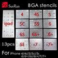 13 unids/lote conjunto completo de alta calidad dedicate bga reballing kit para iphone 4 4S 5 5S 5c 6 6 6 S 6 s + 7 7 + SE ipad