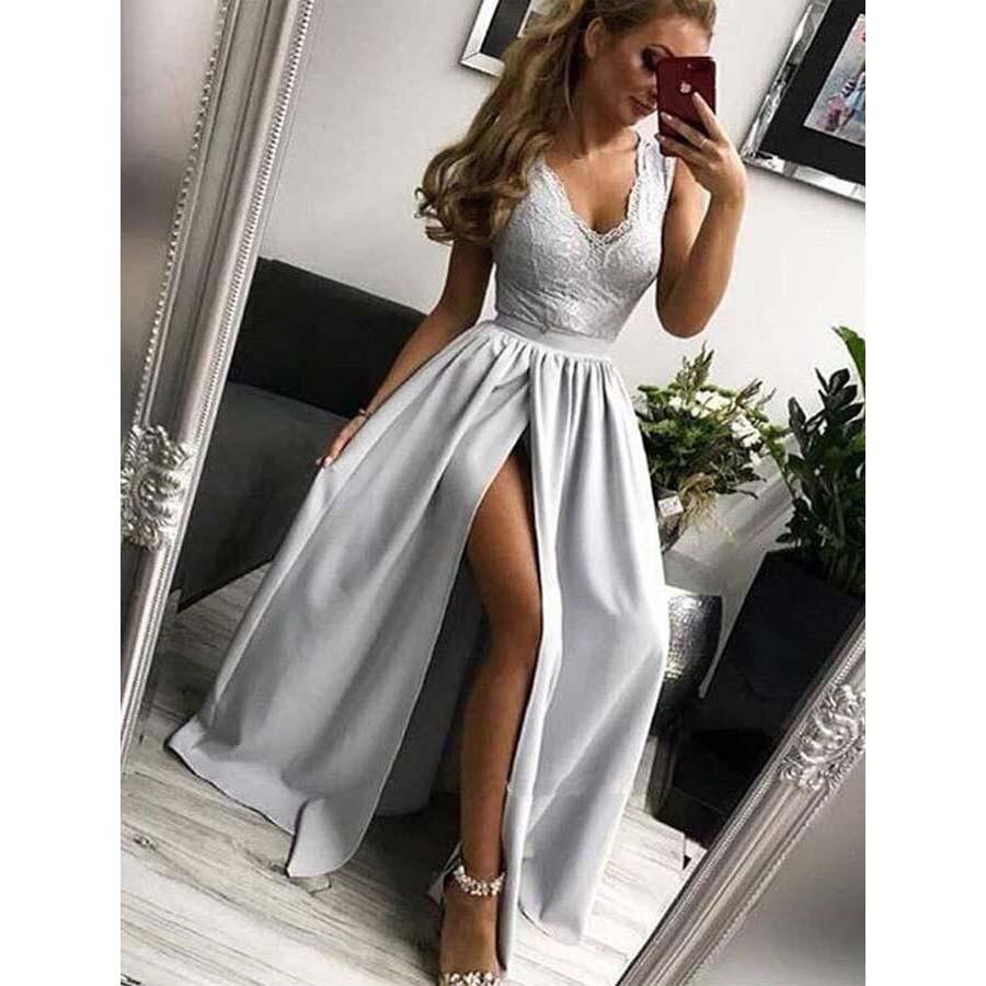 V Neck Floor Length   Prom     Dresses   A Line V Back Sleeveless Applique Front Split Evening Formal Party   Dress   Vestido De Fiesta