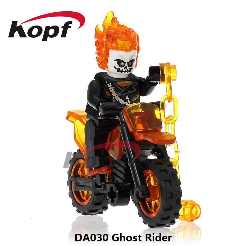 Single Sale Ghost Rider With Motorcycle Daredevil Winter Soldier Building Blocks Super Heroes Bricks Children Gift Toys DA030 traci rose rider understanding green building materials