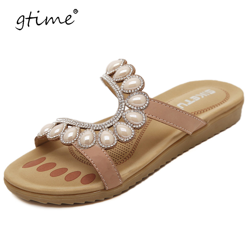 Gtime 2017 Women Sandals Rhinestone Women Summer Leisure Sandals Apricot &Blue Slip On Flip FLops Shoes Woman Size 35~41 #ZWS158Gtime 2017 Women Sandals Rhinestone Women Summer Leisure Sandals Apricot &Blue Slip On Flip FLops Shoes Woman Size 35~41 #ZWS158