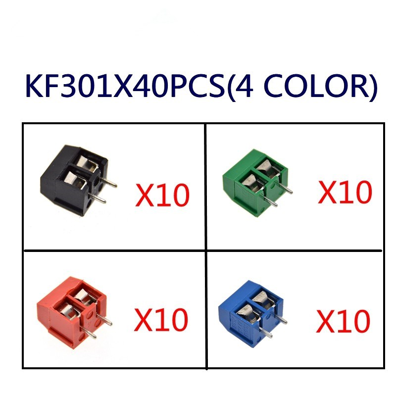 40PCS/LOT KF301-2P KF301-5.0-2P KF301 Screw 2Pin 5.0mm Straight Pin PCB Screw Block 4 color black/red/green/blue