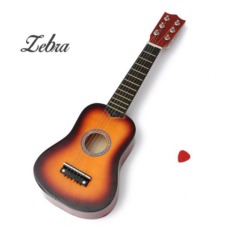Zebra 21 Inch Practice Acoustic Ukulele 6 String Mini Guitar Toys Musical Instrument For Children+Guitar Pick 12mm waterproof soprano concert ukulele bag case backpack 23 24 26 inch ukelele beige mini guitar accessories gig pu leather