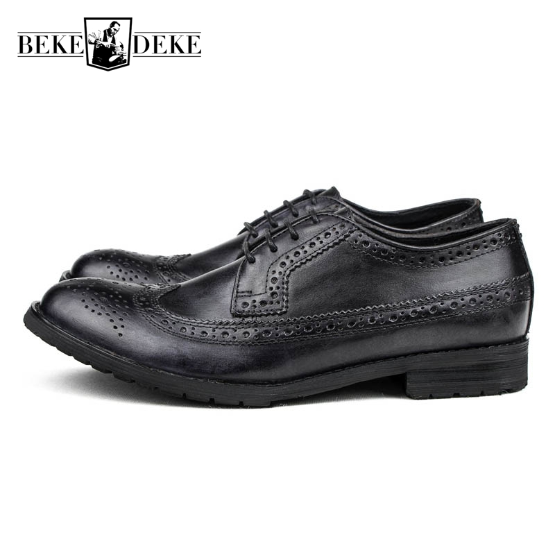 Top Quality England Style Retro Mens Cow Genuine Leather Brogue Shoes Male Casual Shoes Lace Up Round Toe Breathable Wing Tip купить