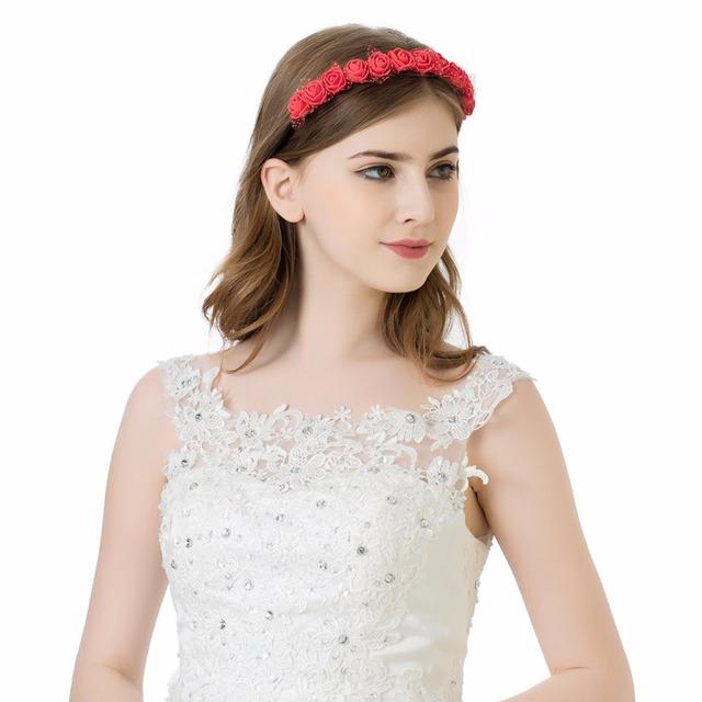 2017 New Kids Wreath Women Girls Summer Beach Flowers Headband Crown Boho Style Foam Rose Flower Red Headband Hairband