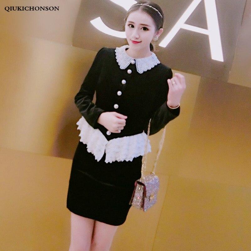Women Clothing Sets 2019 Spring Autumn Vintage Elegant Ladies Lace Peter Pan Collar Velvet Suits Ruffle Lace Two Piece Skirt Set