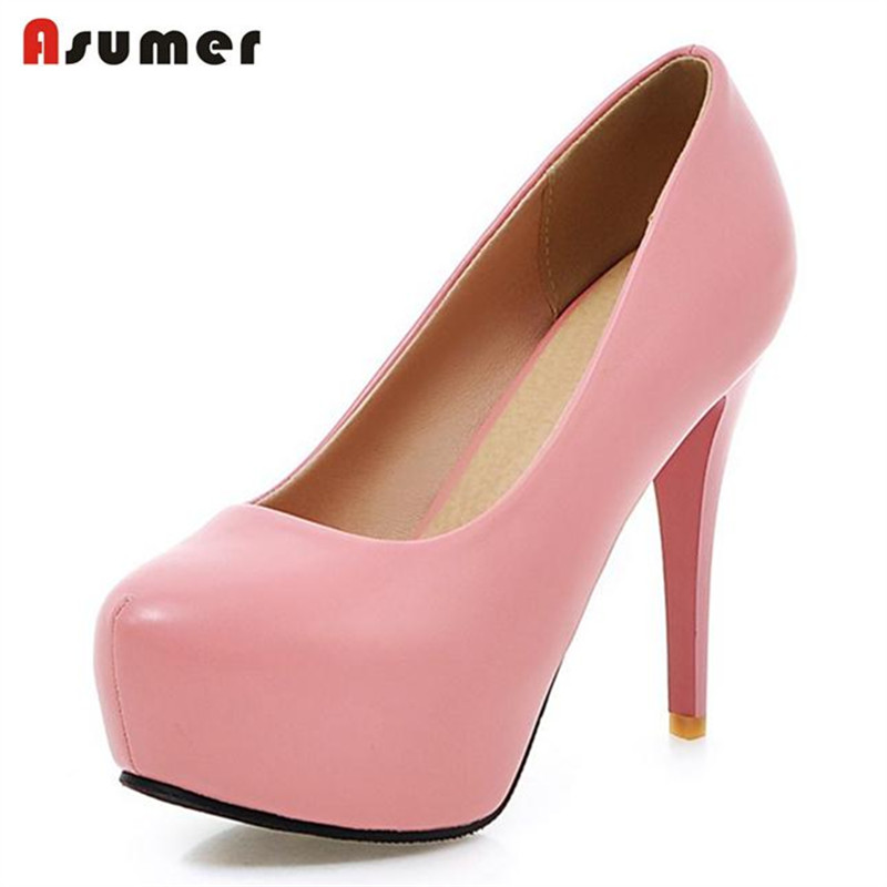 Asumer New platform shoes women pumps solid shallow party shoes four seasons thin high heels shoes
