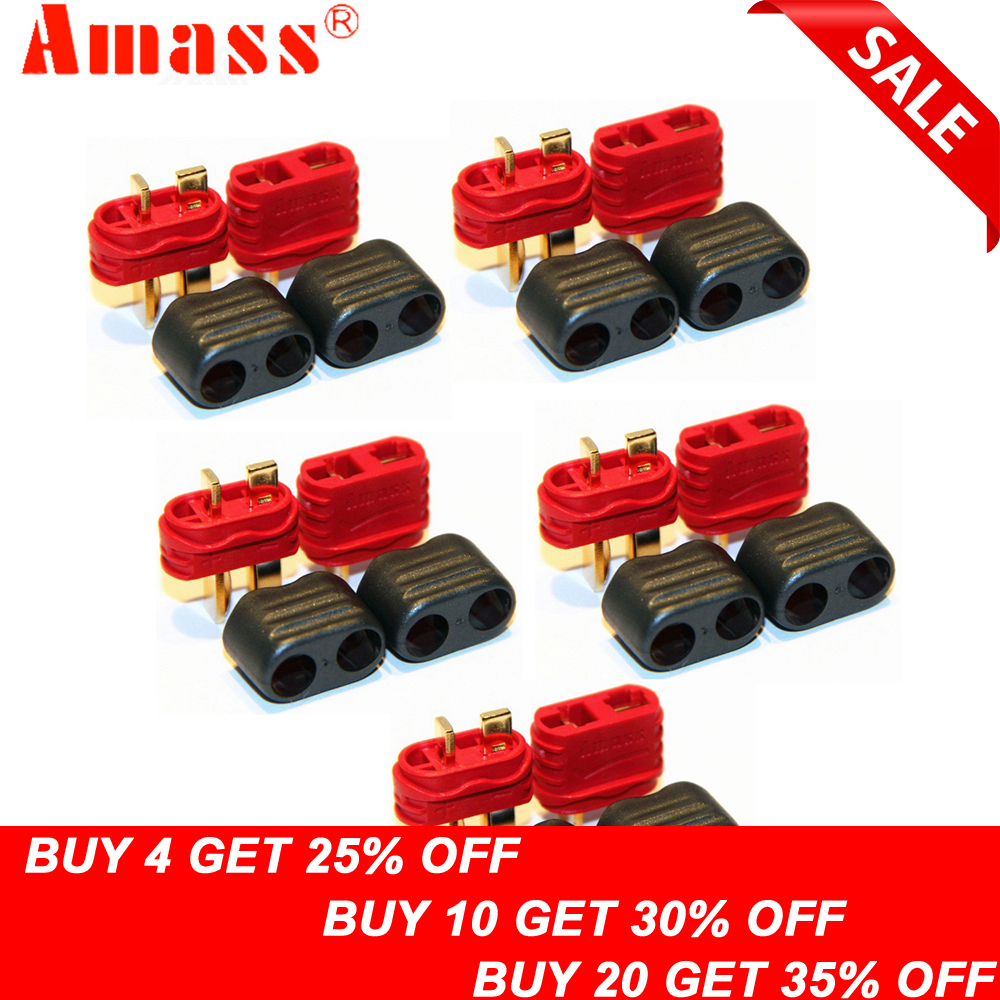 5pair/lot Amass New Slip Sheathed T Plug Connector 40A High Current Multi-axis Fixed-wing Model Aircraft