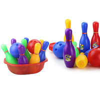 Colorful Standard 12 Piece Bowling Set w/ 10 Pins, 2 Bowling Balls Children Kids Educational Toy Party Fun Family Game (Large)