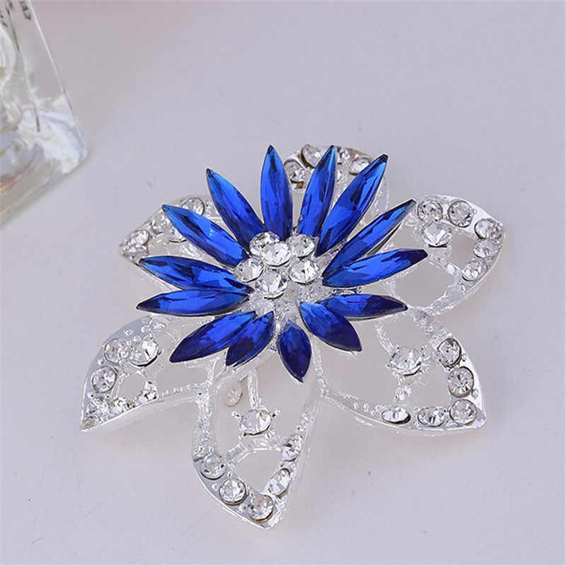 DIEZI Fashion Bouquet Jewelry Brooch For Wedding Blue Flower Silver Crystal Rhinestone Bride Brooch Pins Women Brooch