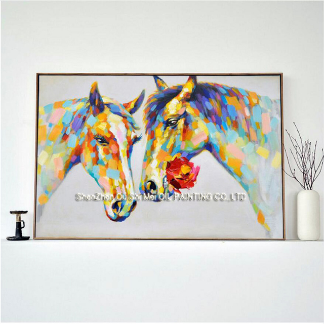 Wildlife Animal Wall Art Horses Canvas Paintings 100% Hand Painted Oil Painting Home Decor Picture For Bedroom Or Living Room