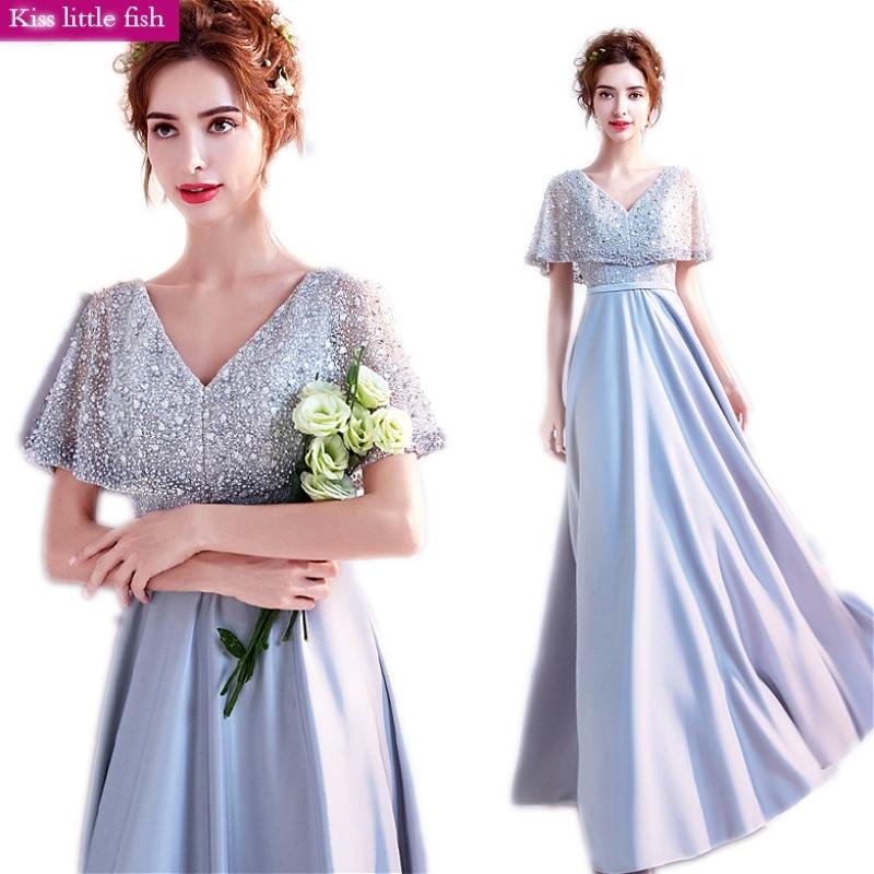 Amichevole 9170 Spedizione Gratuita Con Scollo A V Grigio Chiaro Lungo Prom Dresses Abito Da Sposa Vestido De Festa Longo