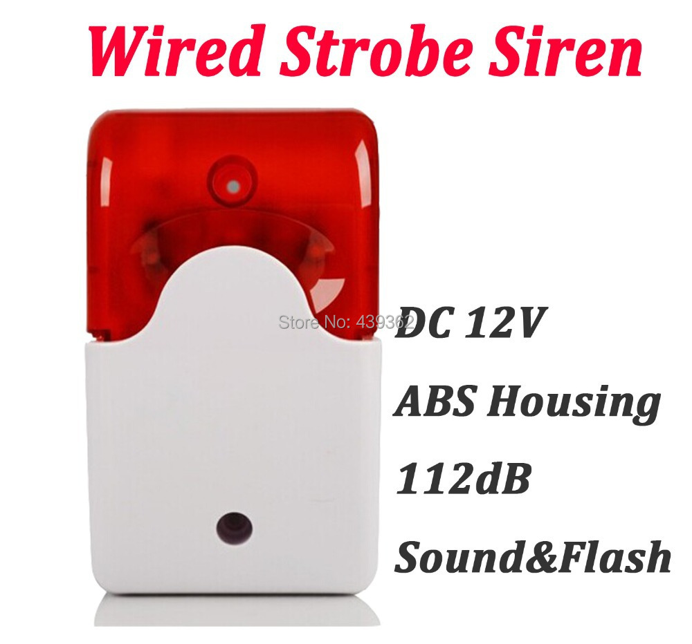 112dB Wired Alarm Siren Horn with Strobe Flash Light DC12V for Home Security Alarm System,Free Shipping 1 pcs 9 16vdc indoor wired siren with flash lamp security alarm accessories buzzer strobe siren anti theft free shipping