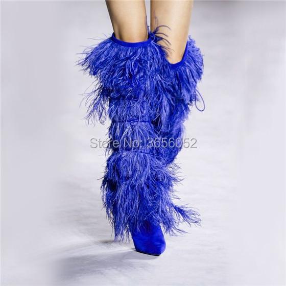 Pie Strappy Blanco Pic Zapatos Rodilla Estilete Punta Mujer Largas Del Sexy Botas Pic Fringe Negro Lujo Fetish Nuevo Dedo as Runway As Azul Tacones xgqw6TxY