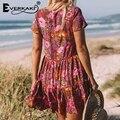 Everkaki, Boho, цветочный принт, мини платье, женское, хлопок, v-образный вырез, пуговицы, Империя, красное, богемное, летнее, пляжное платье, Femme, весна 2019, новинка - фото