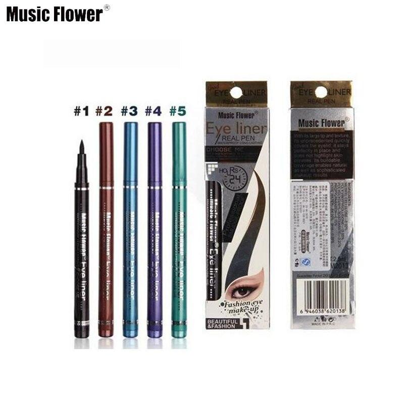 Музыка цветов 5 цветов чёрный; коричневый синий фиолетовый зеленый Liquid Eye Liner Pen Водонепроницаемый Подводка для глаз бренд Макияж глаз Космет...