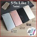 Novos para o caso iphone 5 5s como 7 metal de alumínio preto Porta da Bateria habitação caso Capa de Reposição Como i7 estilo com tpu caso