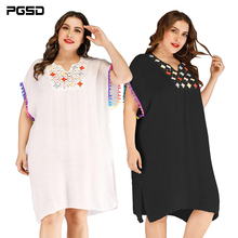 PGSD Spring summer Fashion Big size women clothes Tassels Crochet stitching Side fork Loose beach Dress bikini blouse female