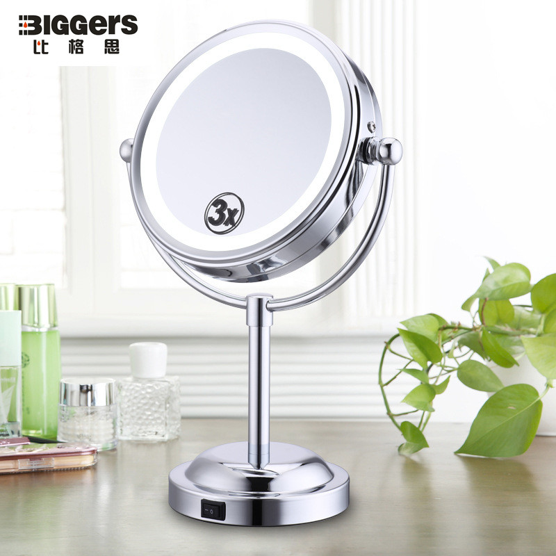 Free shipping 360 degree rotatable Double sided 6 inches LED beauty makeup mirror portable design 3 times magnifying mirrors