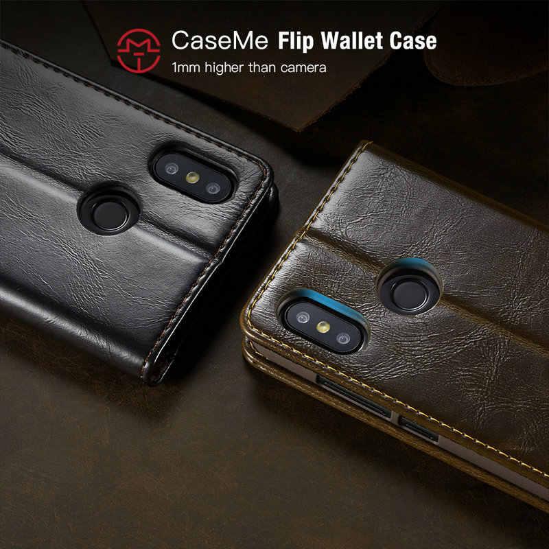 CaseMe Магнитный кошелек чехол для телефона для Xiaomi Mi8 класса люкс R64 кожаный флип-кейс для телефона Redmi 6 6A примечание 6 Pro кредитных карт с держателем