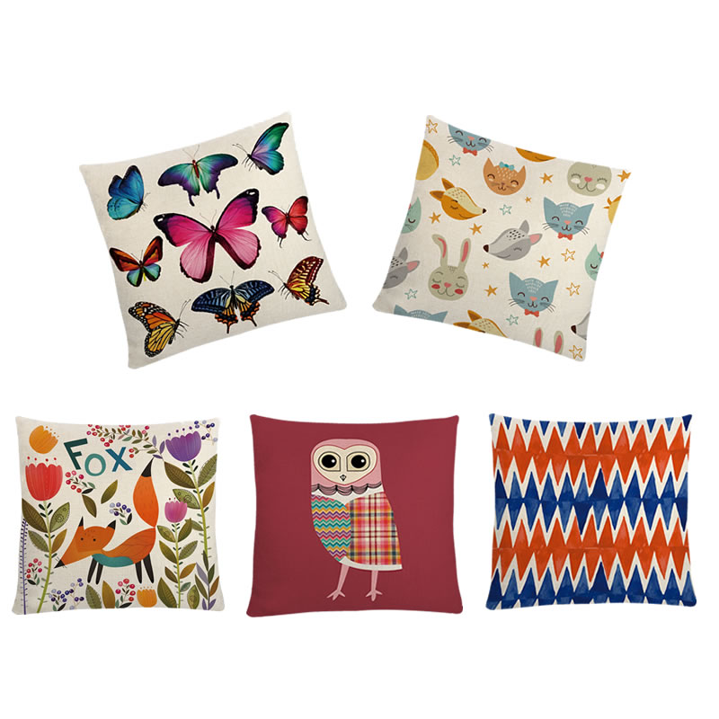 45*45cm Cushion Cover Fox Owl Cat Animasl Pattern Printed Pillowcovers For Home Cars Seat Decoration Cotton Linen Pillow Cases