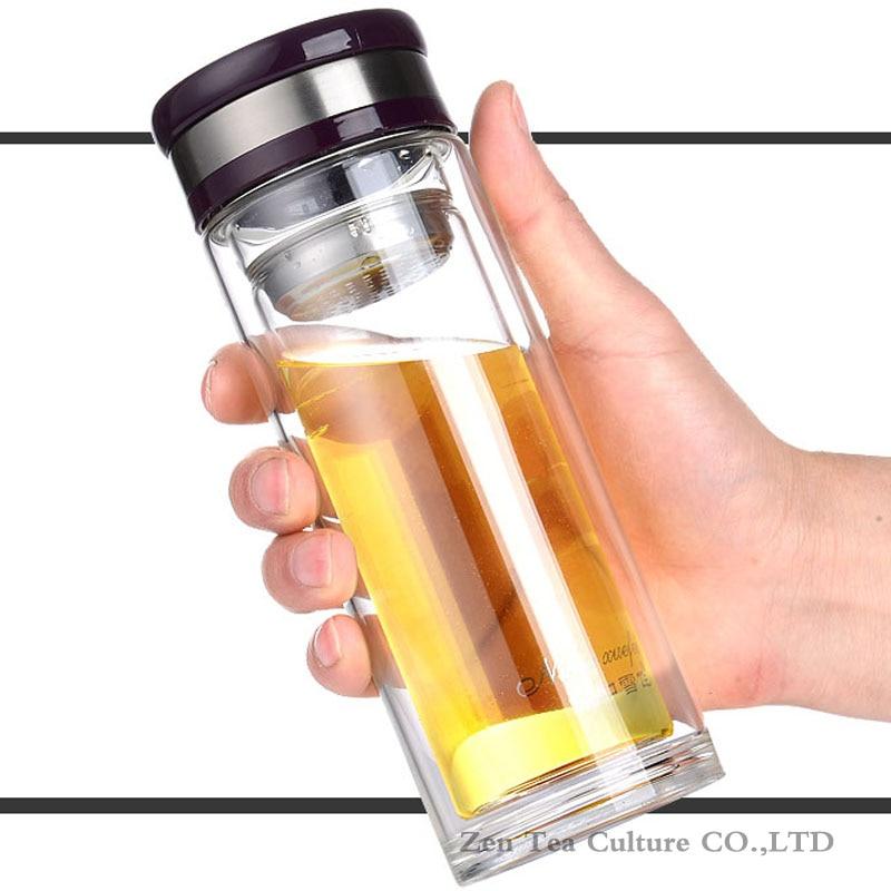 Portatīvie ūdens pudeles Stikls ar vāku filtra karstumizturīgu dubultsienu stikla pudeles biroja pudele Clear 330 / 450ml