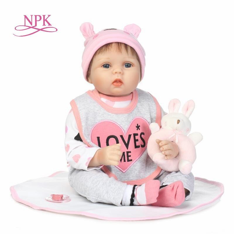 NPK 22 дюймов силиконовые возрождается младенцы куклы Brinquedos куклы для девочек винил Реалистичная кукла реборн Девушка Дети Рождественские по...