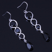 Delicate Water Drop Black Cubic Zirconia 925 Sterling Silver Dangle Earrings For Women V0213