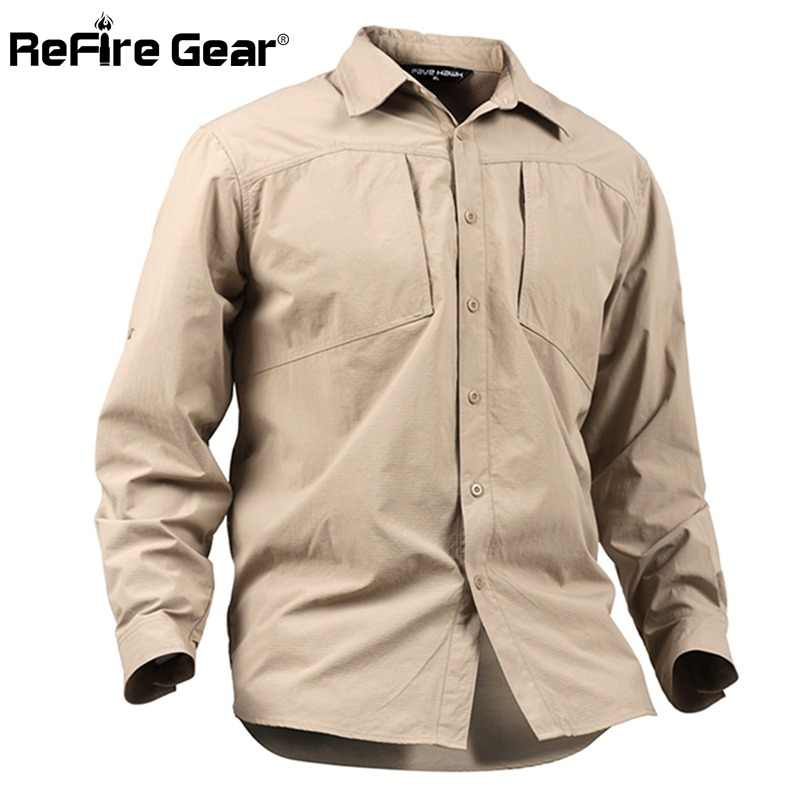 a6d53396ef19 ReFire Gear Men s Army Urban Tactical Shirt Spring Summer Breathable SWAT Military  Shirt Man Casual Quick