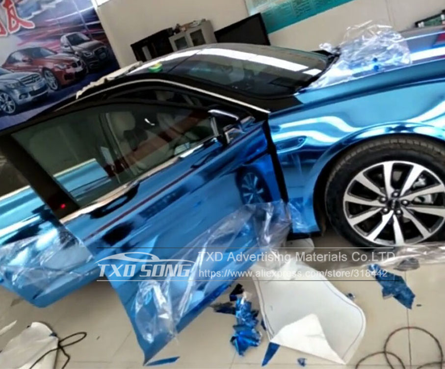 Image 5 - 50CM*1M/2M/3M/4M/5M Roll Car styling High stretchable Light blue Chrome Mirror Vinyl Wrap Sheet Roll Film Car Sticker Car Body-in Car Stickers from Automobiles & Motorcycles