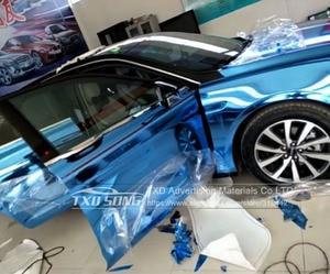 Image 5 - 50CM*1M/2M/3M/4M/5M Roll Car styling High stretchable Light blue Chrome Mirror Vinyl Wrap Sheet Roll Film Car Sticker Car Body