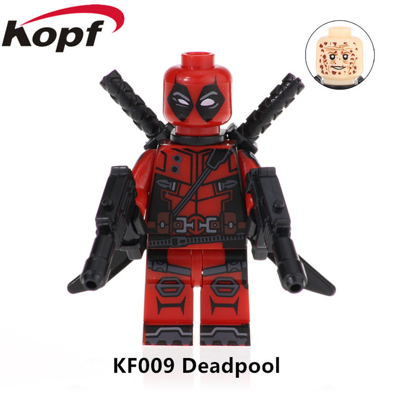 50Pcs Super Heroes Series With Red Blue Yellow Pink Colour Bricks Chrome Deadpool Building Blocks Children
