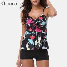 Charmo Women Two-Piece SwimsuitTankini Set Swimsuits Retro Floral Print Swimwear Tie Front Bikini Bathing Suit Beach Wear