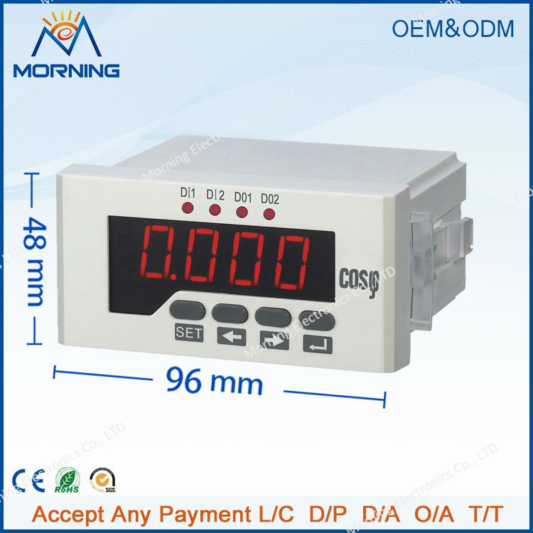 3H51 96*48mm factory price LED display three-phase digital power factor meter, measure power factor with high-precision me 3h61 72 72mm led display 3 phase digital power factor meter support switch input and transmitting output