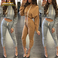 Adogirl Women Jumpsuit Romper 2017 Autumn Hooded 2PCS Playsuits Ankle Length Long Sleeve Two Pieces Overalls Outfits Women Suits