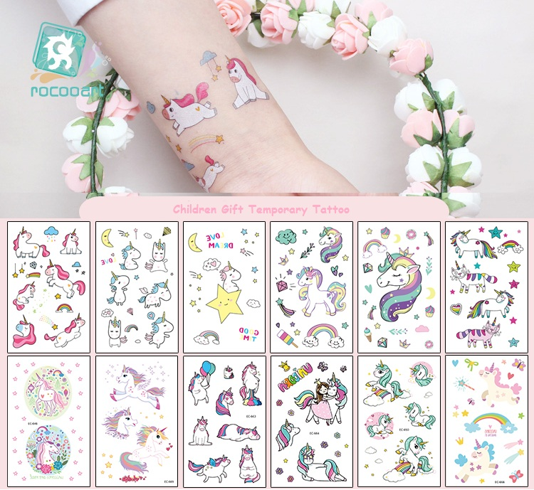 12pcs/set Children Tattoo Sticker Cartoon Tatuajes Temporal Kids Waterproof Fake Tatoo Hand Taty Cute Unicorn Tatouage Body Art