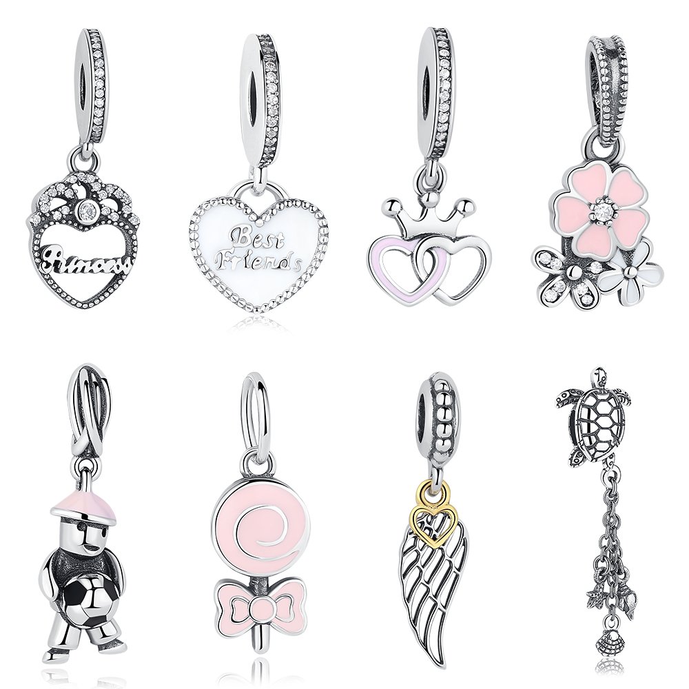 Authentic 925 Sterling Silver Charms Crystal Family Tree,Snowflake Heart Beads Fit Pandora Charm Bracelet Pendant DIY Jewelry