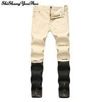 Calças de Brim dos homens Calças Cáqui Buraco Dobra Plissado Patchwork Botão Emenda Luz Cor Sólida Comprimento Total Calças de Verão Jeans Reta