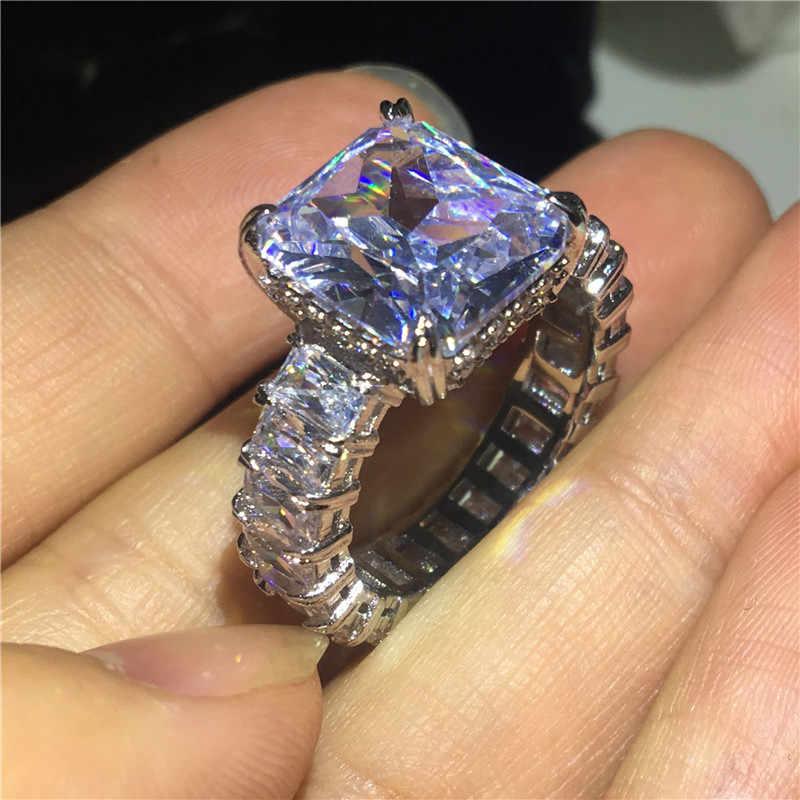Vecalon 2019, Винтажное кольцо принцессы из стерлингового серебра 925 пробы, 6ct, AAAAA Cz, обручальное кольцо, кольца для женщин, ювелирные изделия на палец